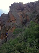 Rock Climbing Photo: Top roping Down the Rabbit Hole. The route follows...