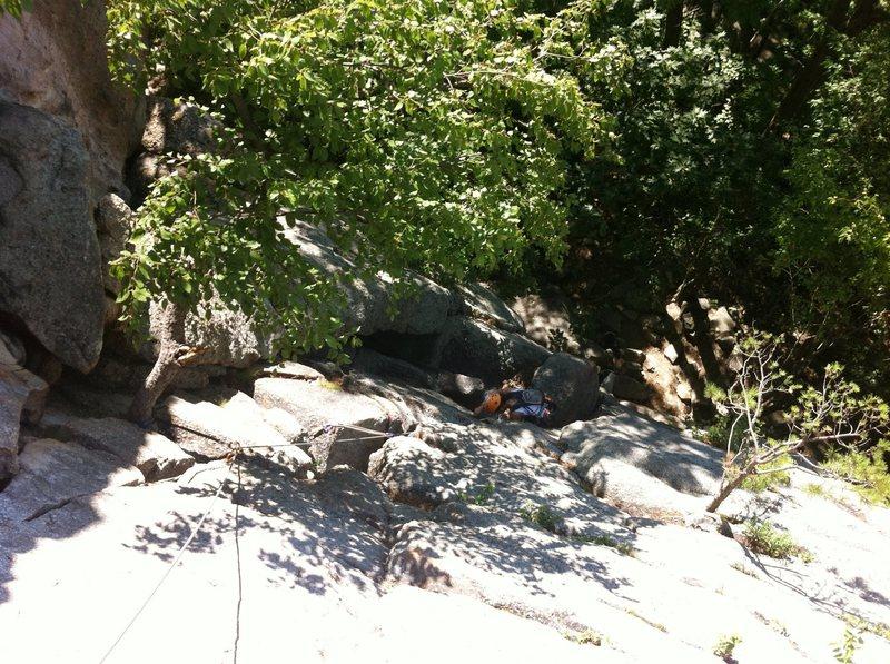 Rock Climbing Photo: Looking down P1.