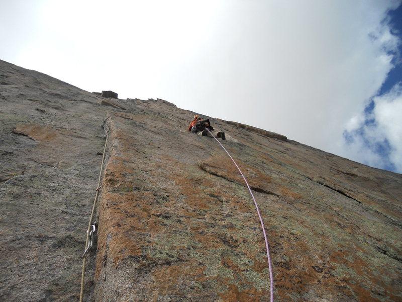 Rock Climbing Photo: Adrian mid-A4 traverse.
