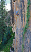 Rock Climbing Photo: Dad warms up on 5.12 high above the family - Hops ...