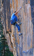 Rock Climbing Photo: Brendan Shafer enjoys the small crimps at the crux...