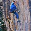 Brendan Shafer enjoys the small crimps at the crux.<br> Wild Hops (5.12-).