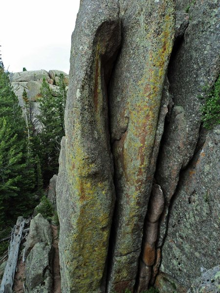 Rock Climbing Photo: The line, as seen from the scramble approach to th...