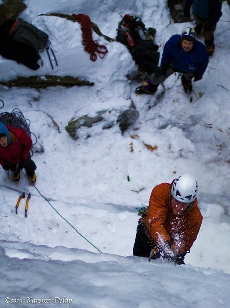 Who says the south doesn't get ice? tearin' it up on whitesides mountain, NC
