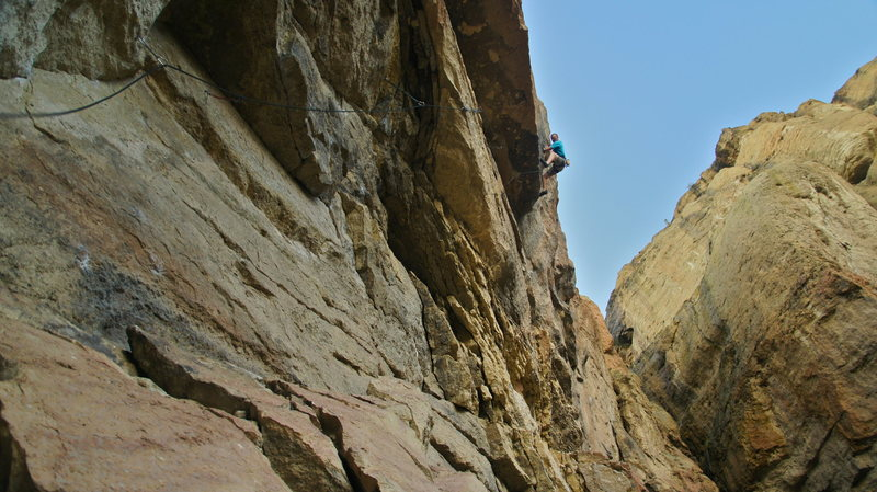 Rock Climbing Photo: Pulling through the third roof (Photo by Brian Mos...