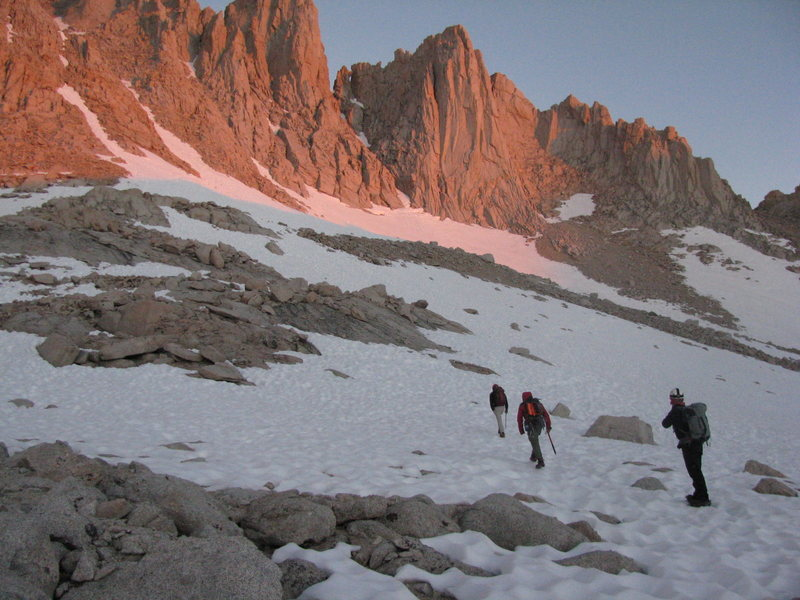 On the approach to the East Buttress.