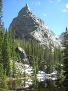 Rock Climbing Photo: Lone Eagle as seen from the main trail. 5.3 route ...