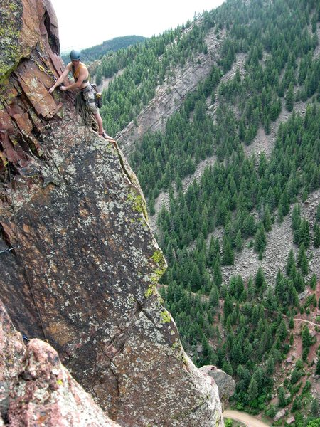 Rock Climbing Photo: Griffin at the belay, bringing Andrew up to the ai...