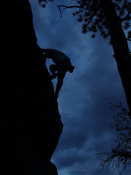 Rock Climbing Photo: The SW arete of the boulder just N of the Iron Cro...