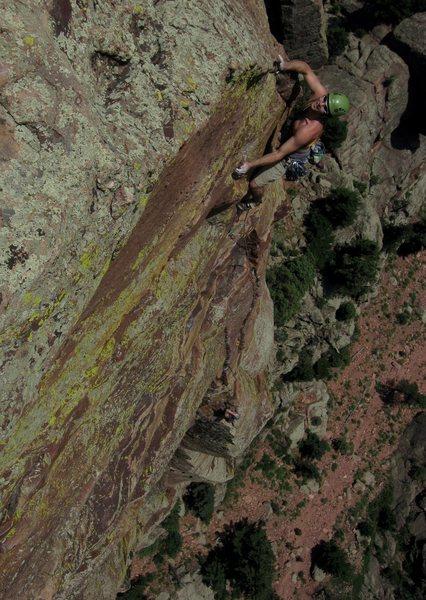 Rock Climbing Photo: Contemplating the ending cross-over.