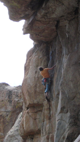 Rock Climbing Photo: Colleen scopes the route ahead. P1 of Whiskey Crac...