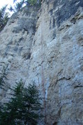 Rock Climbing Photo: The red rope is hanging off Concracktion 5.11c. Th...