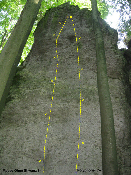 The first two routes on the far left side of the crag