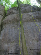 Rock Climbing Photo: Next crag to the right bordered on the left by a b...