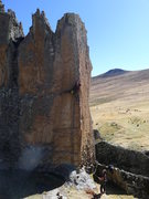 Rock Climbing Photo: Working out the beta for the FA of House of the Ri...