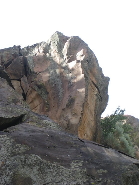 The beautiful red arete that tops Red Queen (5.11c).