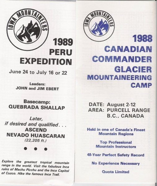 Samples of Iowa Mountaineers trip brochures.