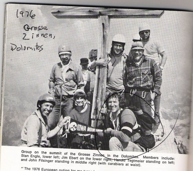 Jim Ebert with a group on a summit in the Dolomites, 1976.