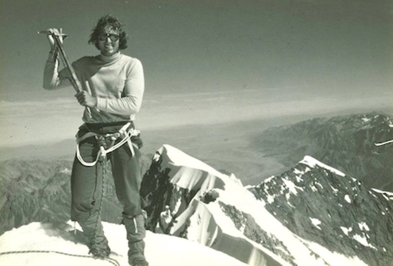 The most recognizable and best known picture of Jim Ebert, atop Mt. Cook after the first grand traverse.