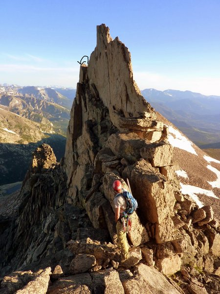 The downclimb off the tower and exposed traverse.<br> <br> Photo Credit: Sean.