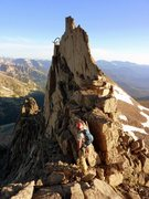 Rock Climbing Photo: The downclimb off the tower and exposed traverse. ...