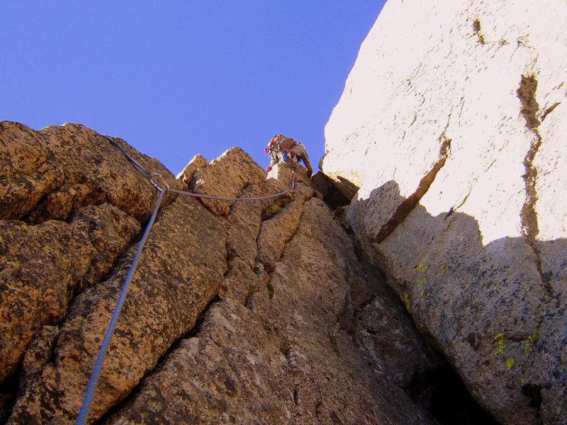 "Rock Climbing Photo: Sean Leading the ""Crux""."