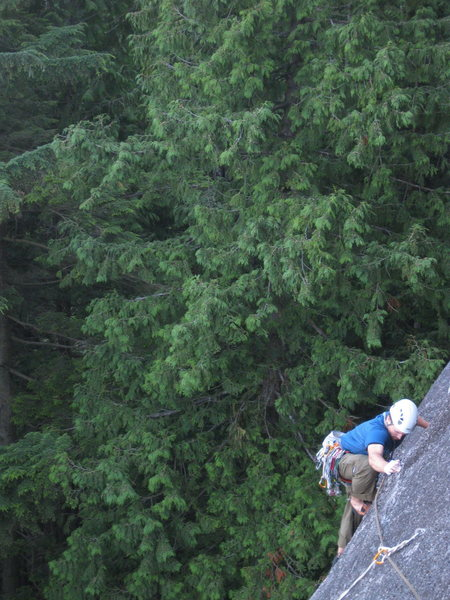 Rock Climbing Photo: Mike between the two bolts on the first pitch of L...