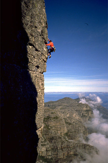 Jacob's Ladder on Table Mountain, Cape Town, S. Africa. One of the better 5.8 pitches in the known universe.