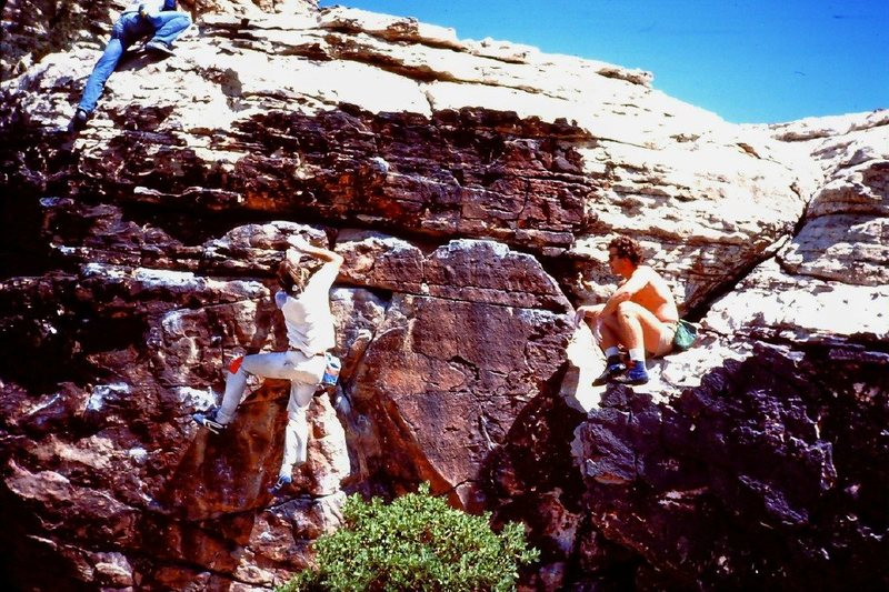Richard Harrison and John Long bouldering at Willow Springs
