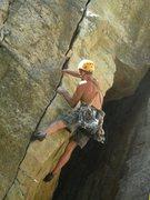 Rock Climbing Photo: JAG leading Harvest Moon, 7/31/2011
