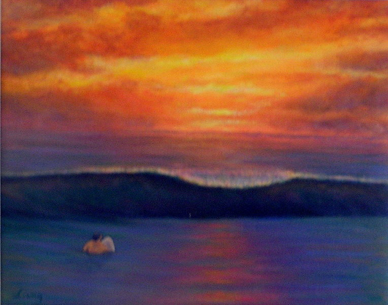 &quot;Olaf's Solo Sunset&quot; <br> Original oil by Karen Lang