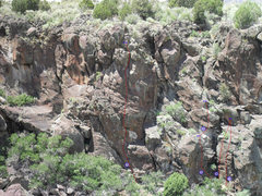 Rock Climbing Photo: Routes in the playpen area. from left to right: 1:...