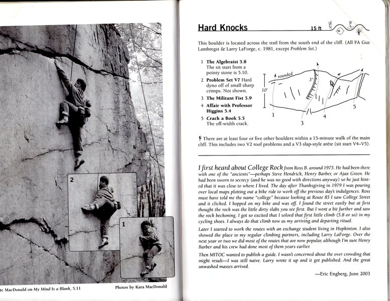 This is the topo for Hard Knocks.  The boulder opposite of the cliff.  Lots of variations and cool little problems.
