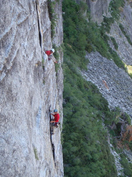 Climbers on Bear's Reach, from East Crack