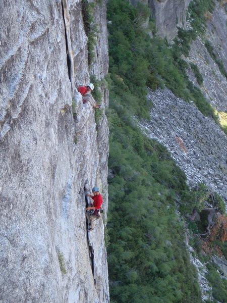 Climbers on Bear's Reach, from East Crack