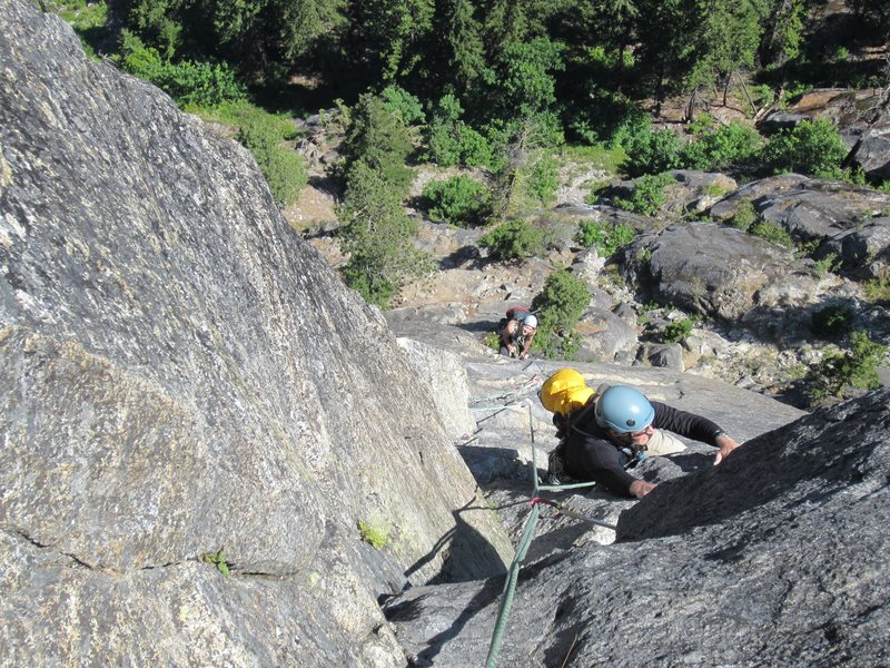 Rock Climbing Photo: Looking down at the second half of P3, which is de...