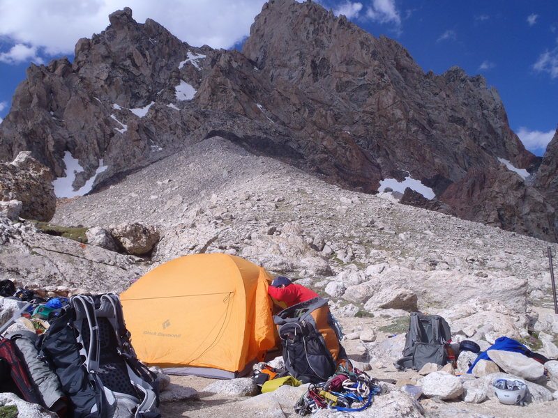 Camp on the Lower Saddle of the Grand Teton.