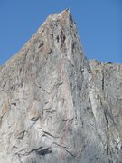 Rock Climbing Photo: Detail topo of ITTIA pitches from about where it d...