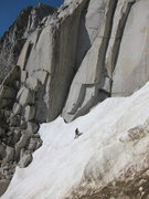Rock Climbing Photo: Brian crossing the snow gully 7/22/2011.