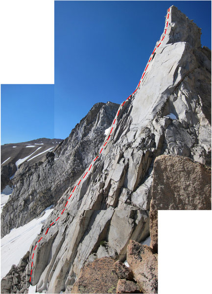 The regular route as viewed form the approach.  The red line closely follows the route.