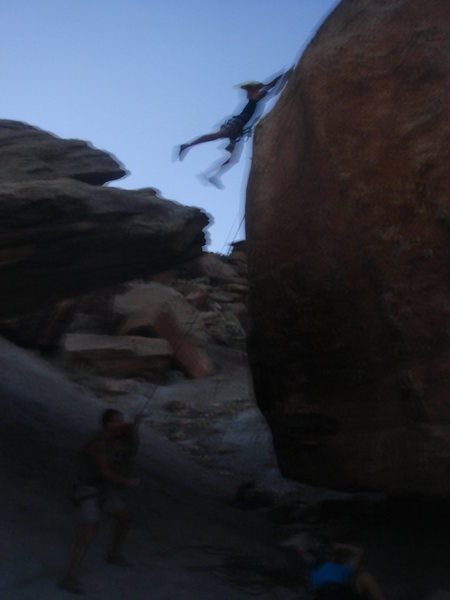 Rock Climbing Photo: Logan Berndt does the jump to Bullet Hole Rock fro...