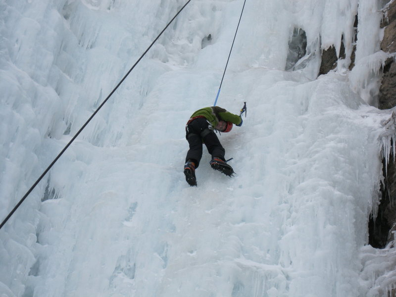 Gabe climbing at the ice pit