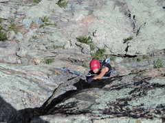 Rock Climbing Photo: Deb fighting hard on her favorite climb.