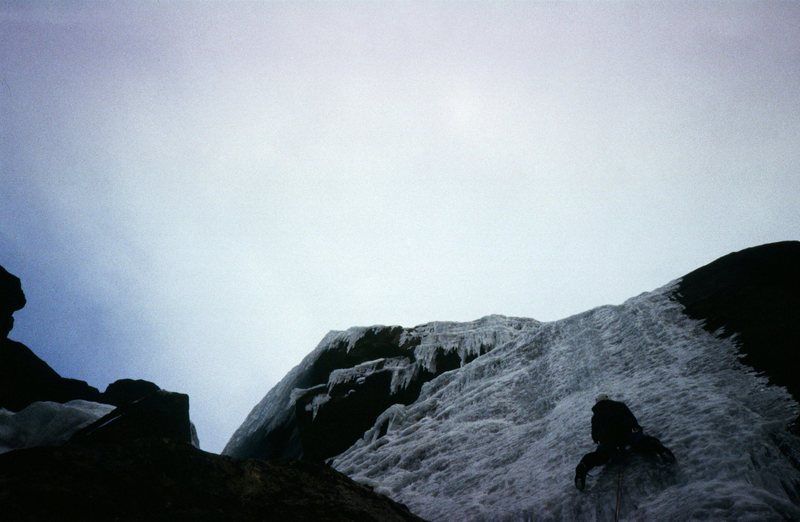 On the first ascent of Gestas.  The upper curtain of Dismas can be seen up and left on the opposite side of the overhang.