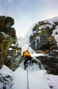 Rock Climbing Photo: Brian Childress on the first ascent of Dismas.  Th...