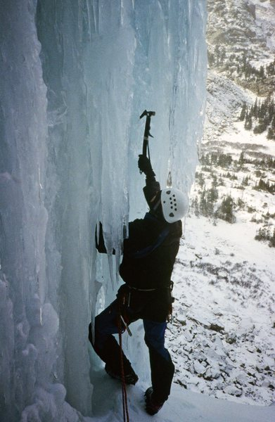 Feeling out the overhanging start to the second pitch.