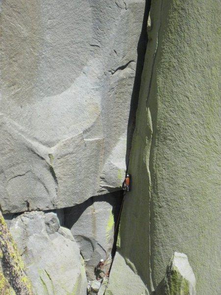 Rock Climbing Photo: Tara Misiewicz belaying Jared Vagy at the crux roo...