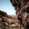 I&@POUND@39@SEMICOLON@m free soloing A-cute Pain in 2nd pullout Red Rocks.  I wore sandals since the rock was too hot!