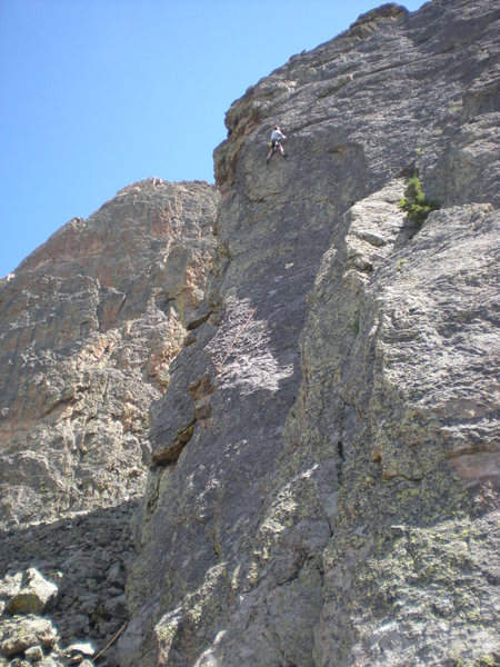 Rock Climbing Photo: Paul moves past the 4th bolt on 'The Green Wave'. ...