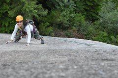 Rock Climbing Photo: Winnie running through the slab near the top of P1...